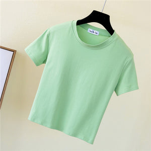 Crop Top T-Shirt Female Solid Cotton O-Neck Short Sleeve T-shirts for Women High Waist Slim Short Sport Blanc Femme T-Shirt