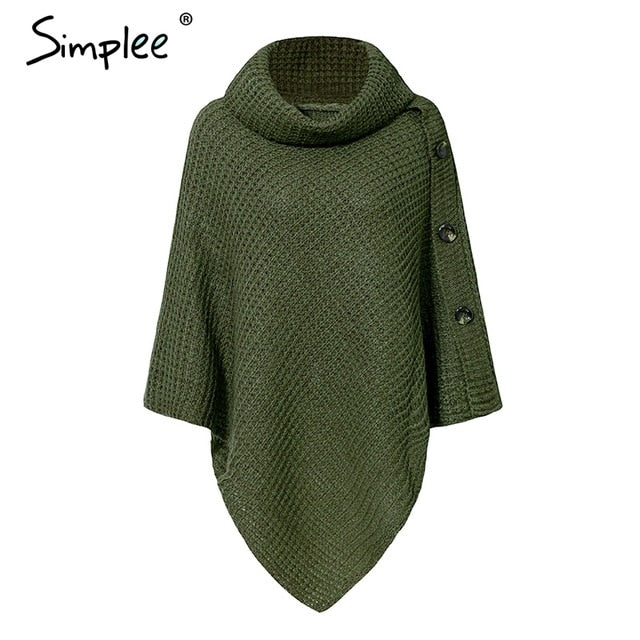 Simplee Elegant knitted turtleneck cloak sweater Women button casual pullover 2018 Autumn winter streetwear jumpers pull femme