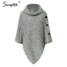 Load image into Gallery viewer, Simplee Elegant knitted turtleneck cloak sweater Women button casual pullover 2018 Autumn winter streetwear jumpers pull femme