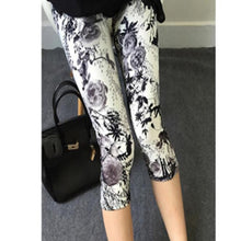 Load image into Gallery viewer, YRRETY 2020 Women High Quality Capris High Waisted Floral Printing Pants Lady's Fitness Leggings Seventh Elastic Slim Leggings