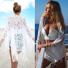Load image into Gallery viewer, Summer Sexy Lace Crochet Beach Dress Women White See Through Swimwear Swimsuit Cover Up Mini Dress