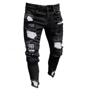 3 Styles Men Stretchy Ripped Skinny Biker Embroidery Print Jeans Destroyed Hole Taped Slim Fit Denim Scratched High Quality Jean