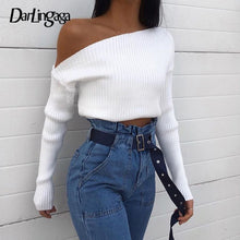 Load image into Gallery viewer, Darlingaga Oblique Collar Sexy Knitted Sweater Women Asymmetrical Pullovers One Shoulder Fashion Autumn Winter Sweaters Cropped
