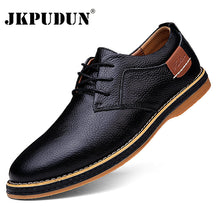 Load image into Gallery viewer, Men Oxfords Genuine Leather Dress Shoes Brogue Lace Up Mens Casual Shoes Luxury Brand Moccasins Loafers Men 2020 Plus Size 38-48
