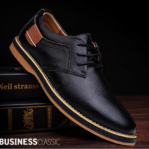 New Winter Men Shoes Genuine Leather Flat  Mens Shoes  Fashion High Quality Casual Lace Up Shoes Men Big Size 48 Office Shoes