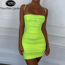 Load image into Gallery viewer, Newasia Mesh Zomer Jurk 2020 Vrouwen Bandjes Bodycon Ruches Jurk Vrouw Party Night Club Jurk Zomer Kleding Voor Vrouwen
