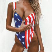 American Flag Loose Strap One Piece - Lemonkini