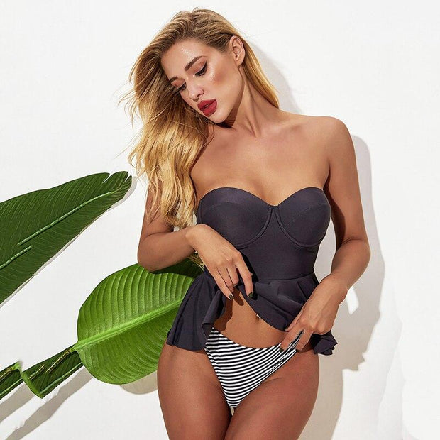 Off Shoulder Striped One Piece - Lemonkini