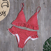 Plaid Print Ruffled Bikini - Lemonkini