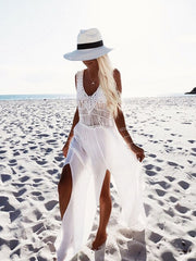 Split Boho Long Maxi Cover Up - Lemonkini