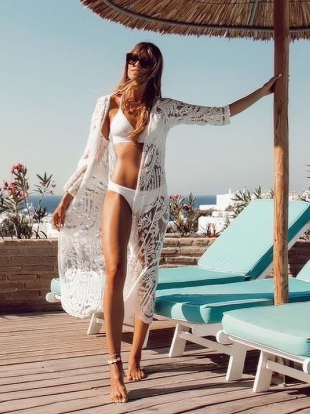 Bohemian Embroidery Laced Cover Up - Lemonkini