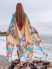 Big Sleeve Floral Kimono Cover Up - Lemonkini