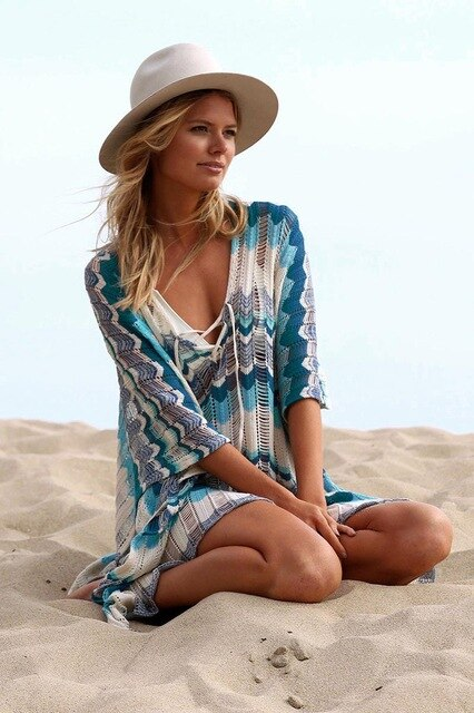 Knitted Poncho Style Cover Up - Lemonkini