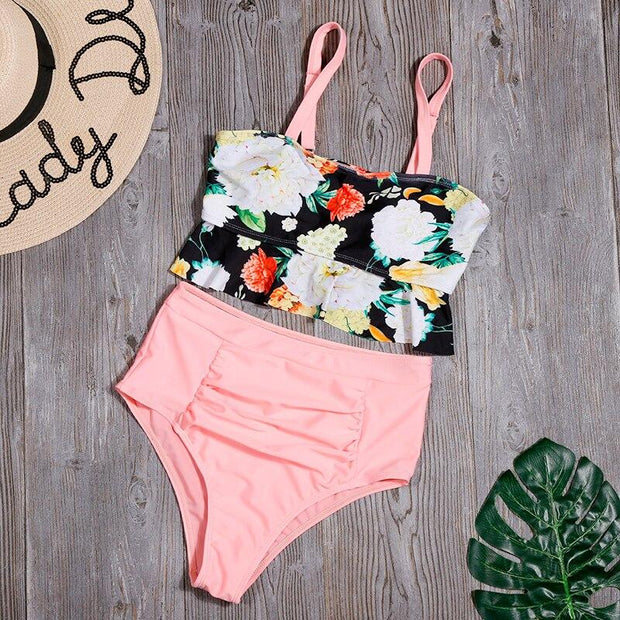 Ruffled High Waist Floral Bikini - Lemonkini