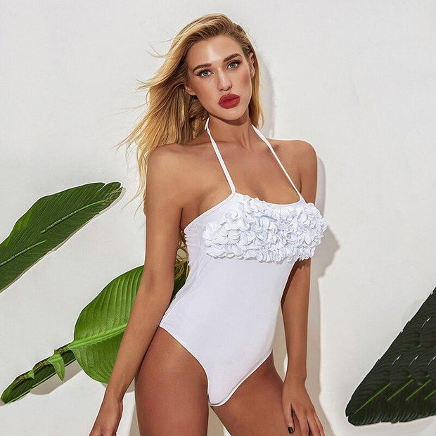 Solid Frilly One Piece - Lemonkini