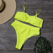Solid Thin Strap High Waist Bikini - Lemonkini