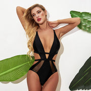 Solid V Strapped One Piece - Lemonkini