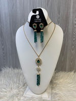 Primary Photo - BRAND: MATERIAL GIRL <BR>STYLE: NECKLACE SET <BR>COLOR: GREEN <BR>SKU: 242-24264-45745