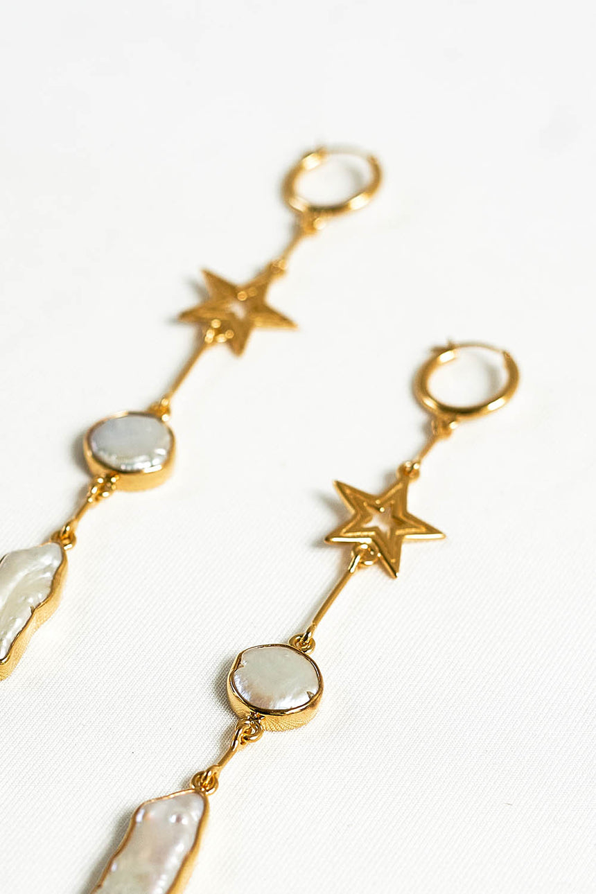 Rhode Island Earrings with Gold Star