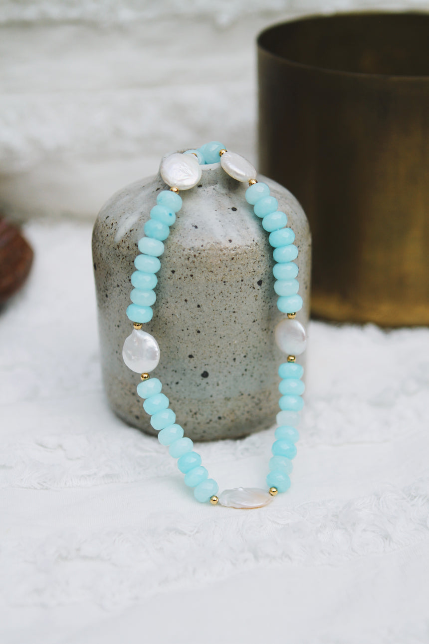 Aquamarine Beads with Coin Pearl Necklace