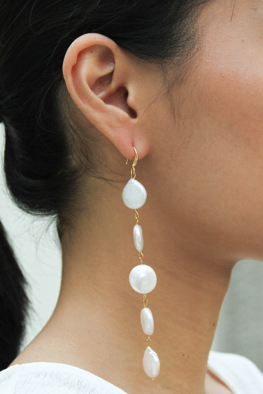 Round Keshi Pearl Drop Earrings