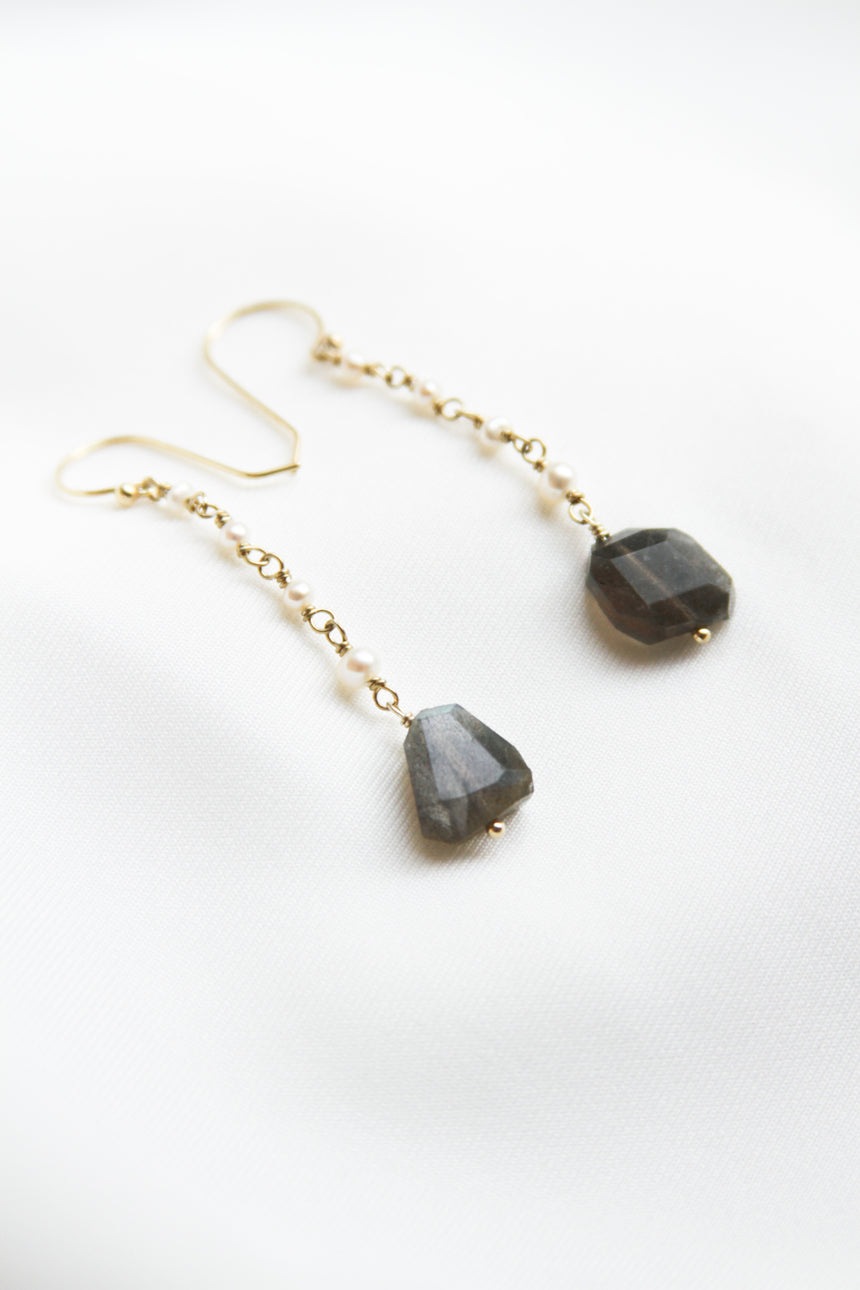 Gaia Earrings with Norwegian Labradorite