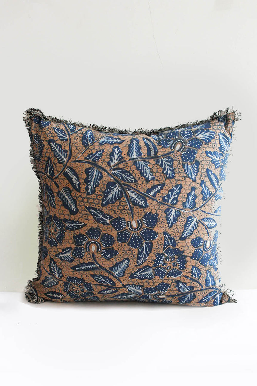 Fringed Botanica Batik Cushion