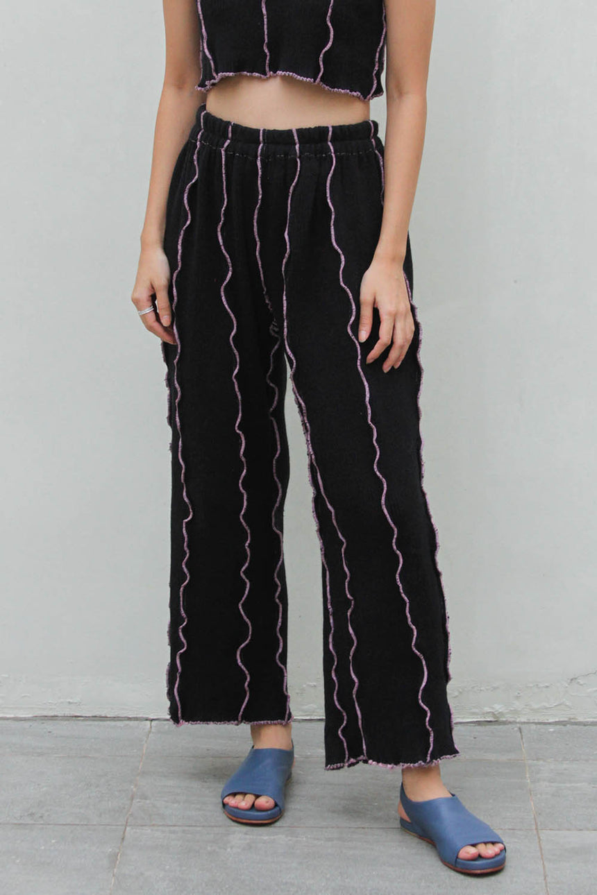 Laveste Long Pants in Black / Pink
