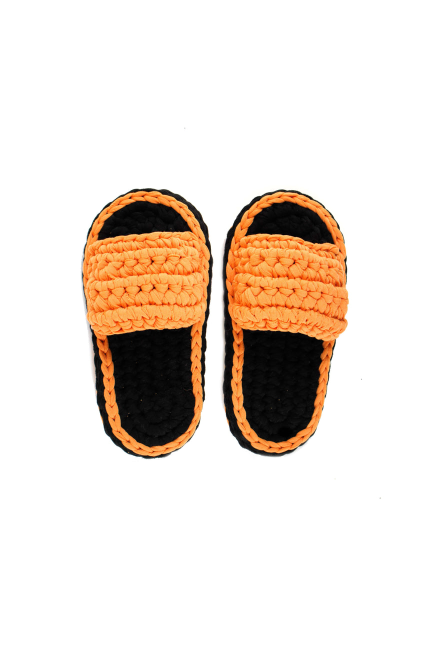 Crochet Slippers in Orange / Black