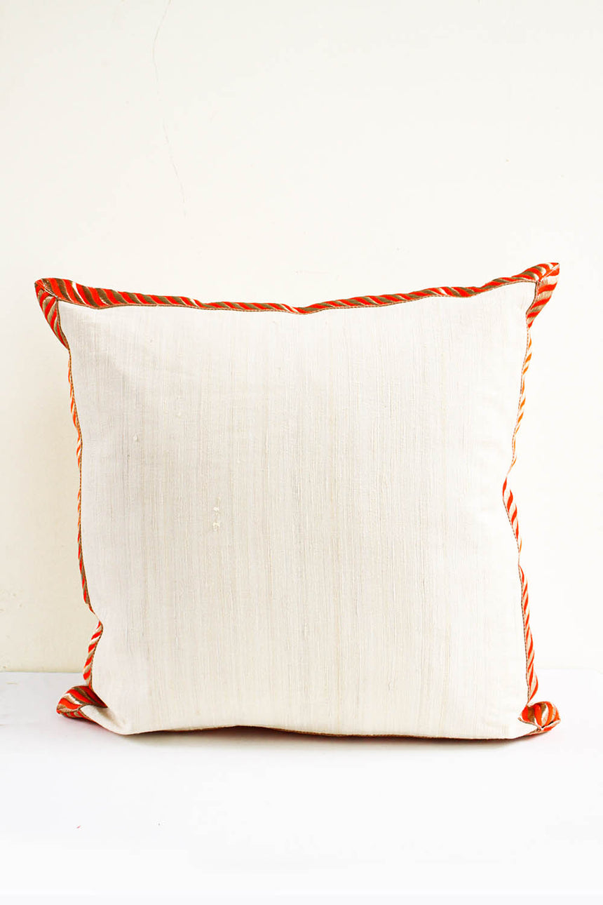 Varanasi Raw Indian Silk Cushion in Cayenne