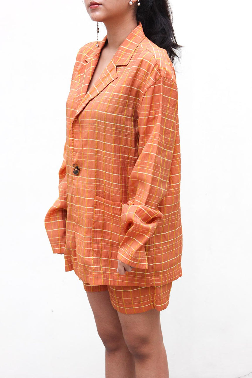 Sarong Suit & Shorts Set in Orange Saffron