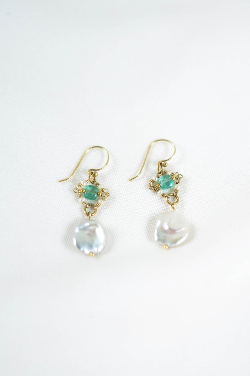 Zephyros Earrings with Baroque Pearls, Keshi Pearls and Brazilian Apatites