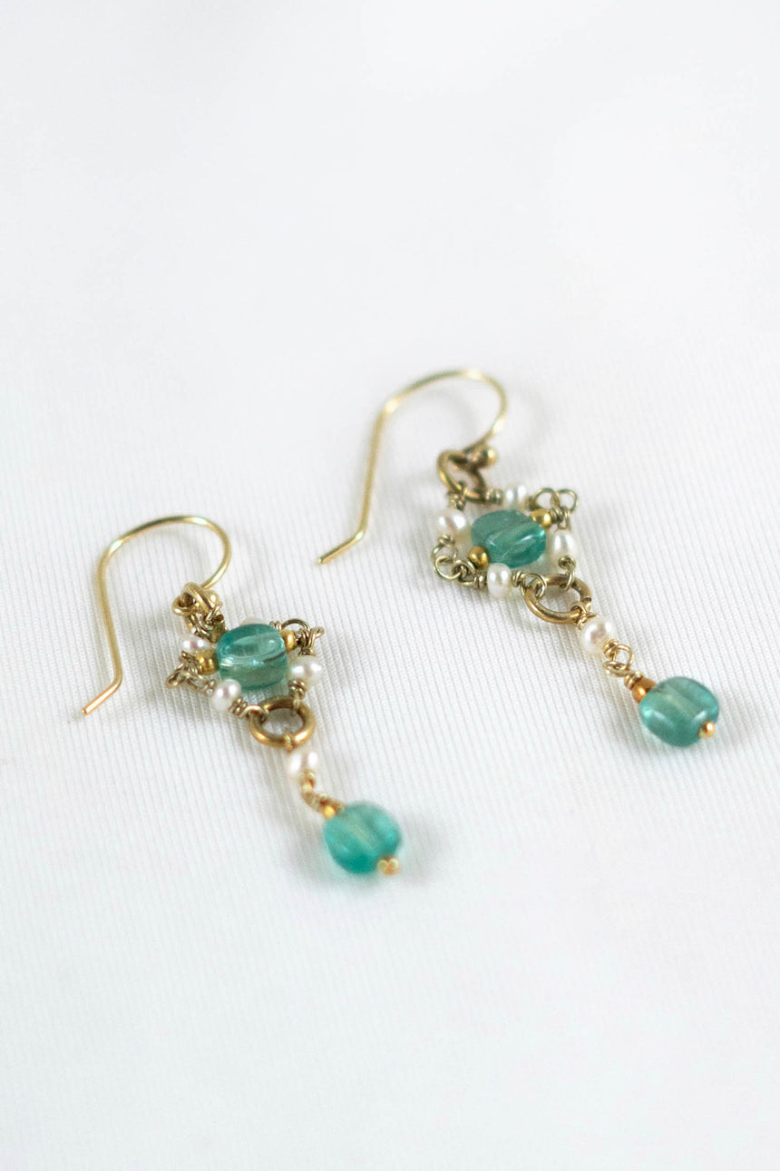 Zephyros Earrings with Keshi Pearls and Brazilian Apatites