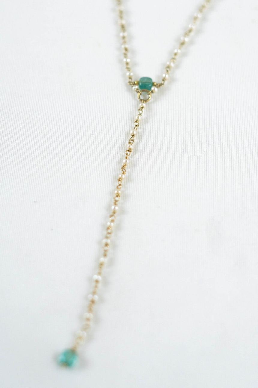 Zephyros Lariat Necklace with Keshi Pearls and Brazilian Apatites