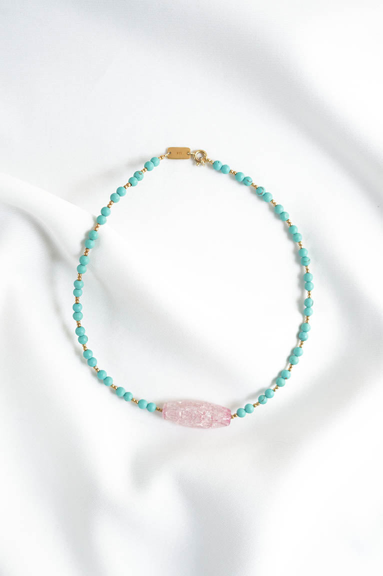 René Choker with Turquoise Beads and Pink Quartz Crystal