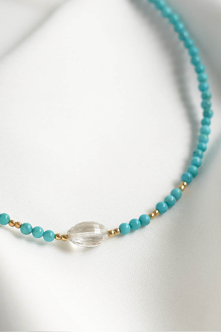 Peggy Choker with Turquoise Beads and Quartz Crystal
