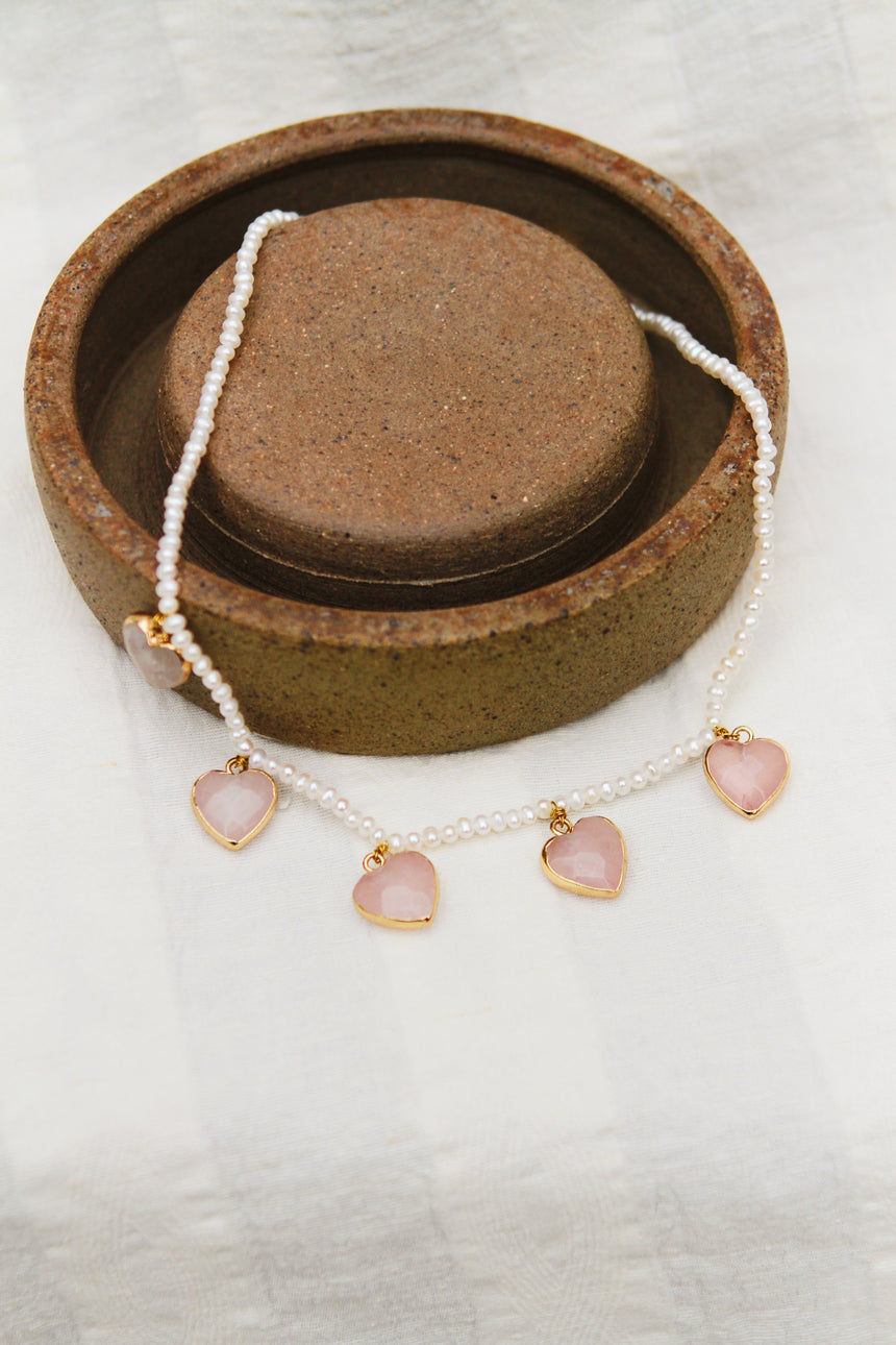 Heart Me Some More Necklace with Rose Quartz and Baby Pearls