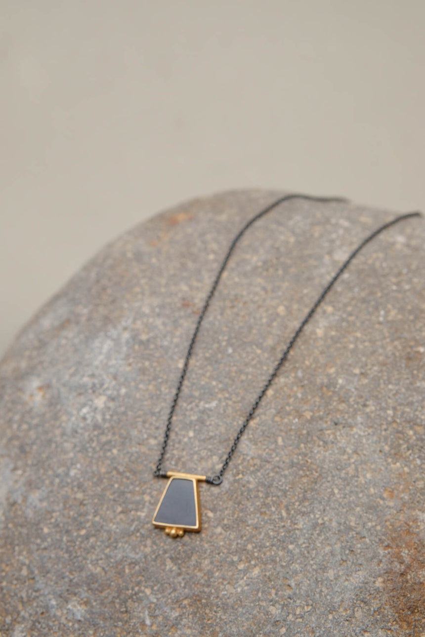Horn and Gold Necklace in Trapezoid