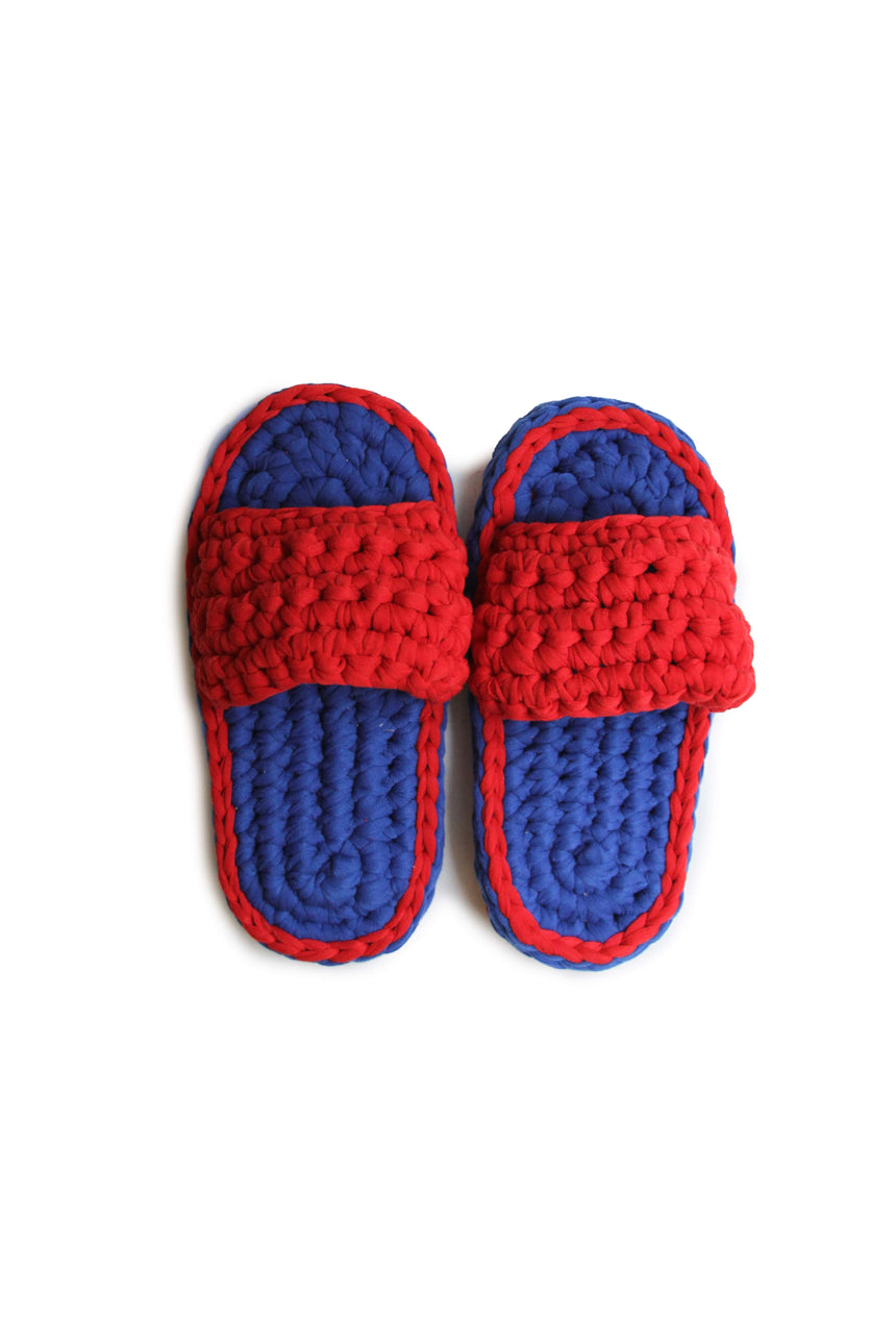 Crochet Slippers in Dark Blue / Red