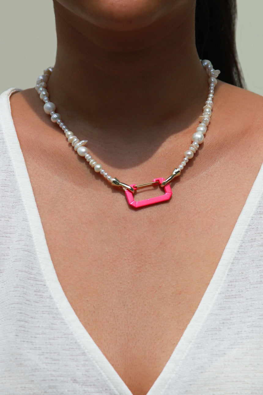 Libby Necklace with Neon Pink Screw Clasp