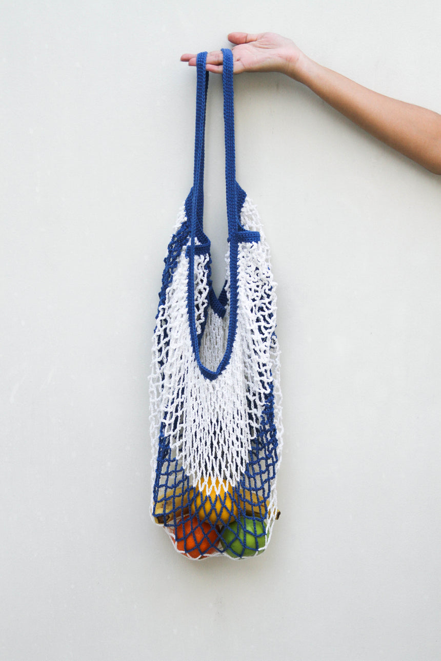 Market Bag in White and Blue