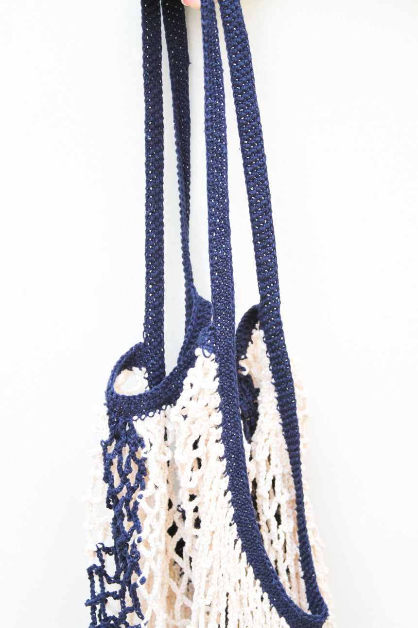 Market Bag in Ivory and Navy