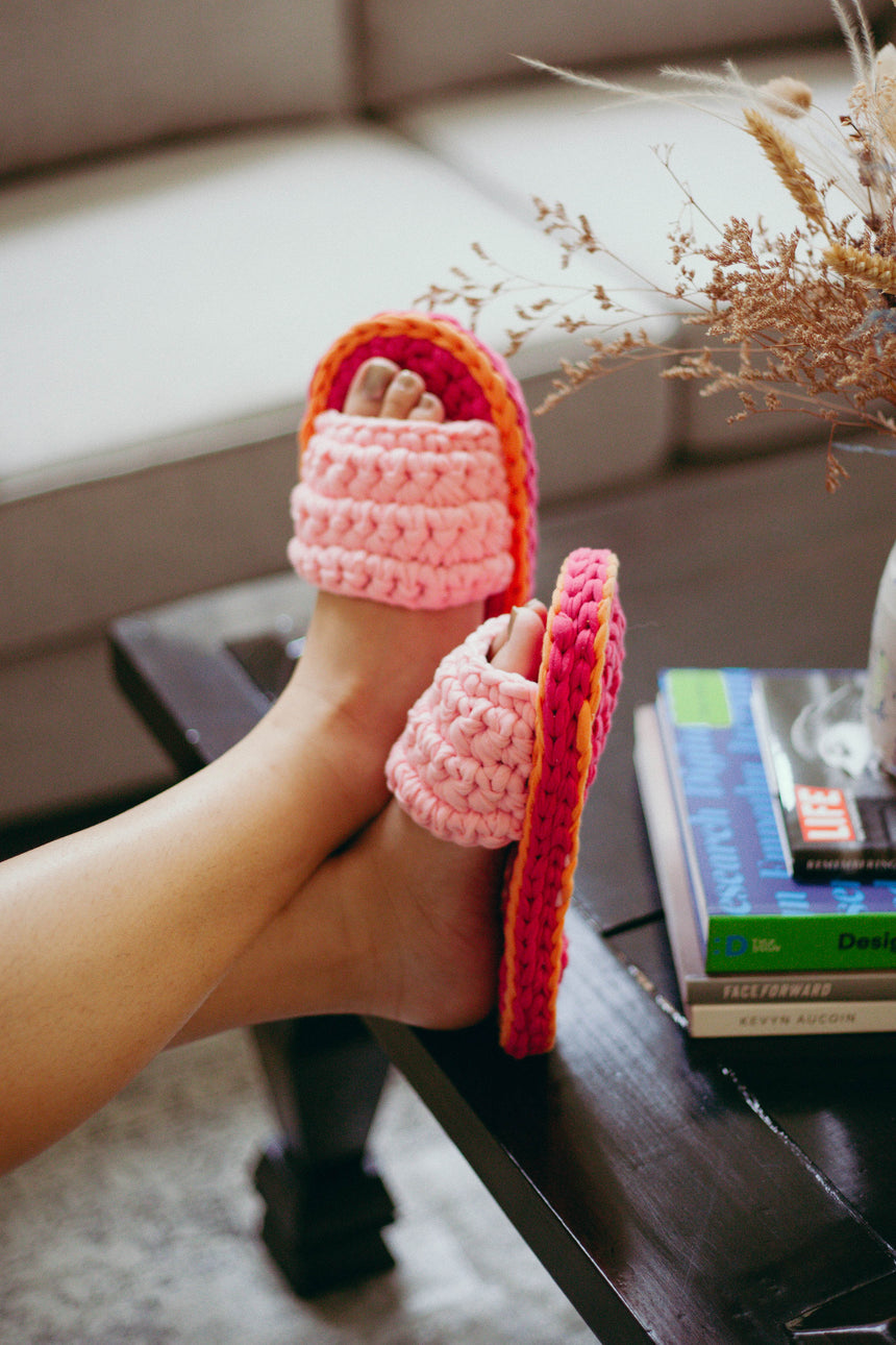 Crochet Slippers in Pink / Orange