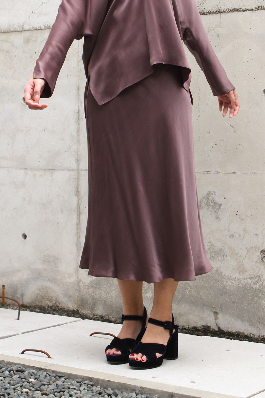 Canary Bias Skirt in Plum