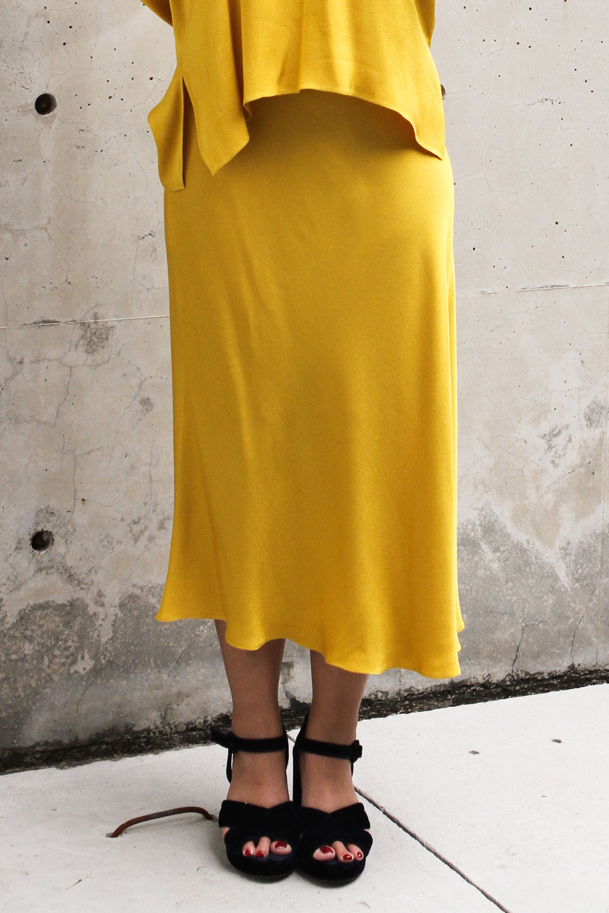 Canary Bias Skirt in Mustard