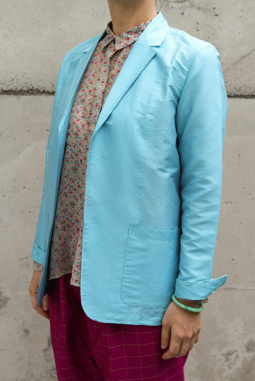 Silk Blazer in Blue