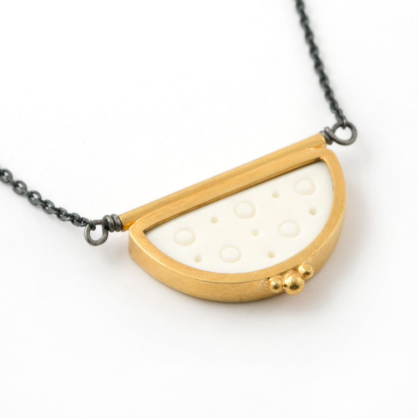 Bone and Gold Necklace in Semi-circle