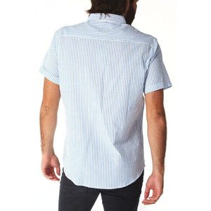 fisher-couture-com-PX-Devin Seersucker Striped Shirt | Ocean Blue