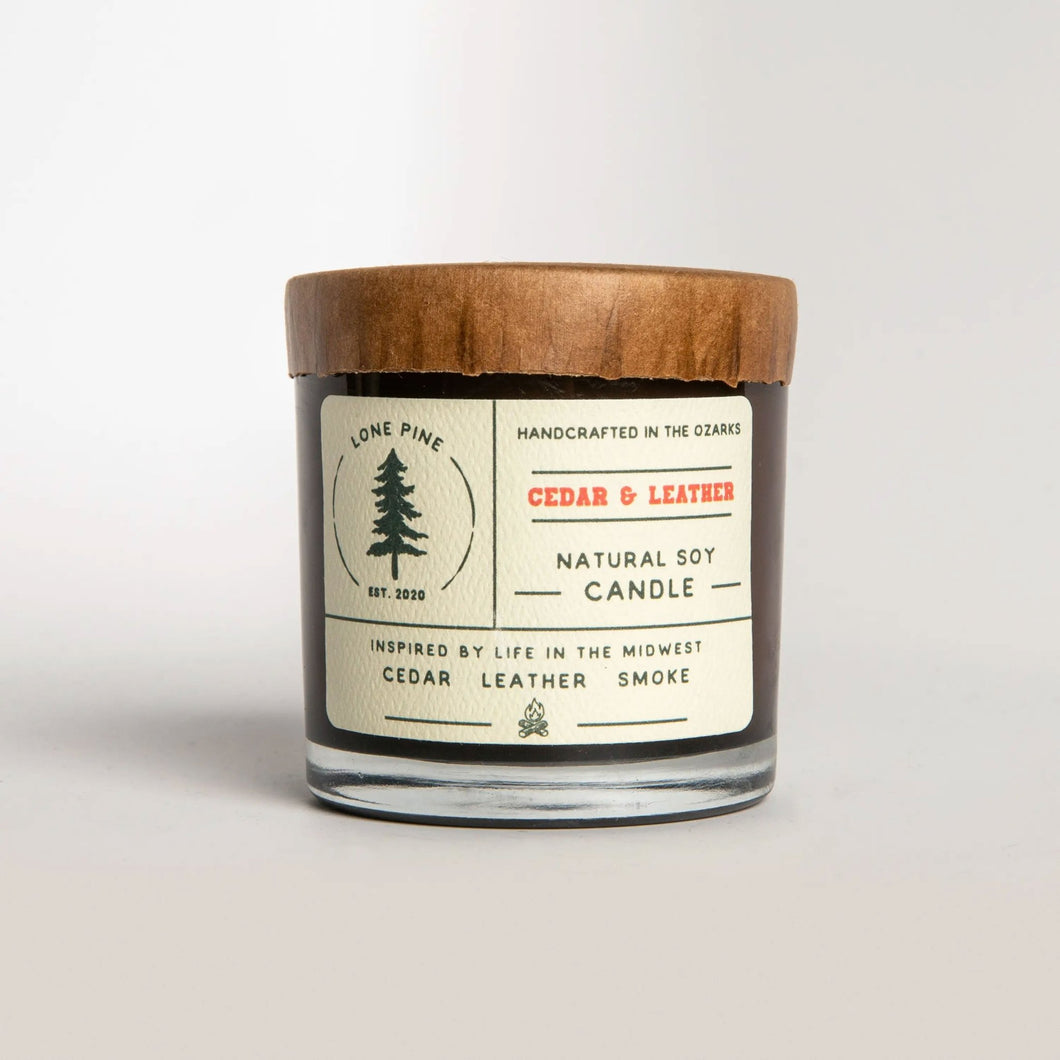 Cedar & Leather Soy Candle - Fisher Couture.com