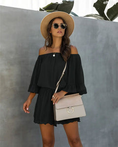 Chiffon Off Shoulder Romper in Black - Fisher Couture.com